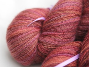 autumnal coloured bluefaced leicester laceweight yarn