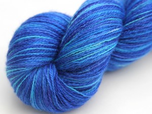 Blue and turquoise bluefaced leicester laceweight yarn